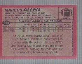 1983 Topps #294 Marcus Allen DP RC back image