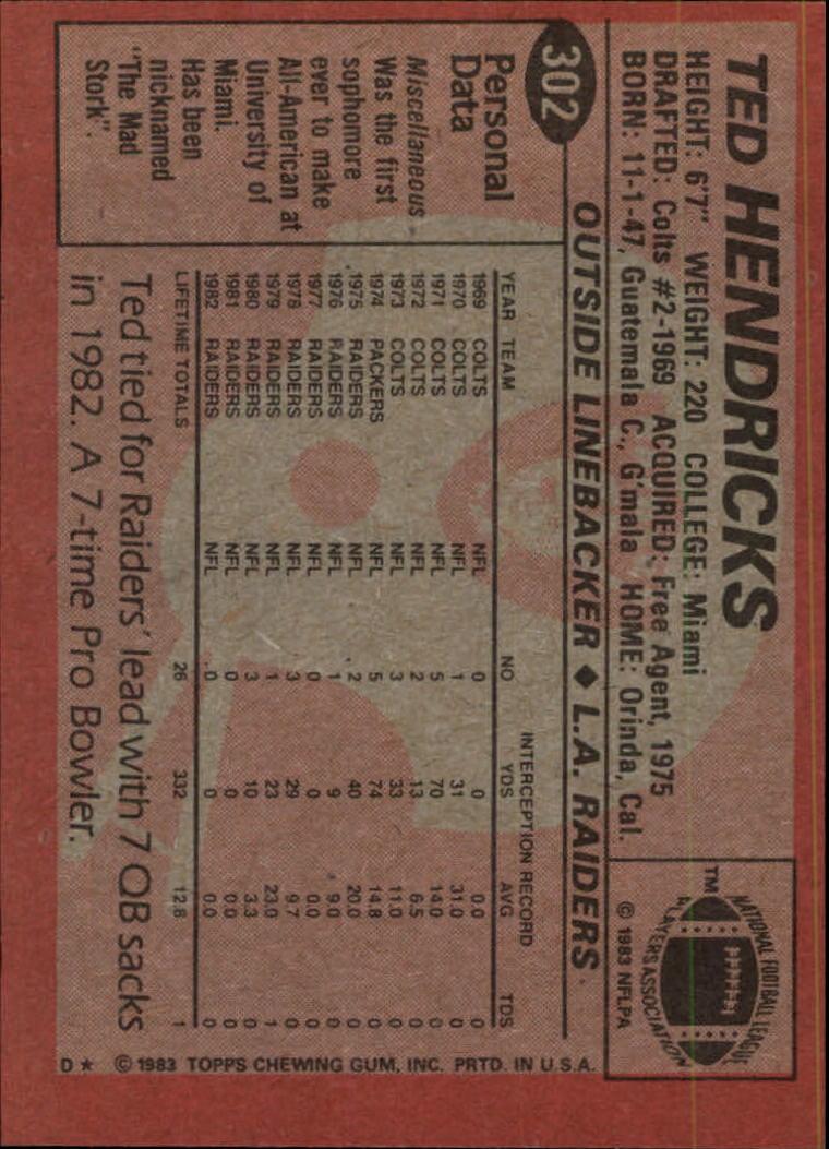 1983 Topps #302 Ted Hendricks DP PB back image