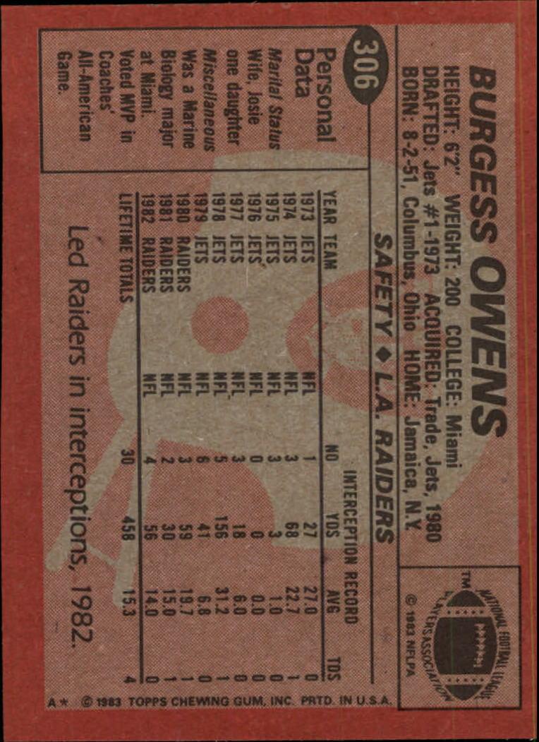 1983 Topps #306 Burgess Owens back image