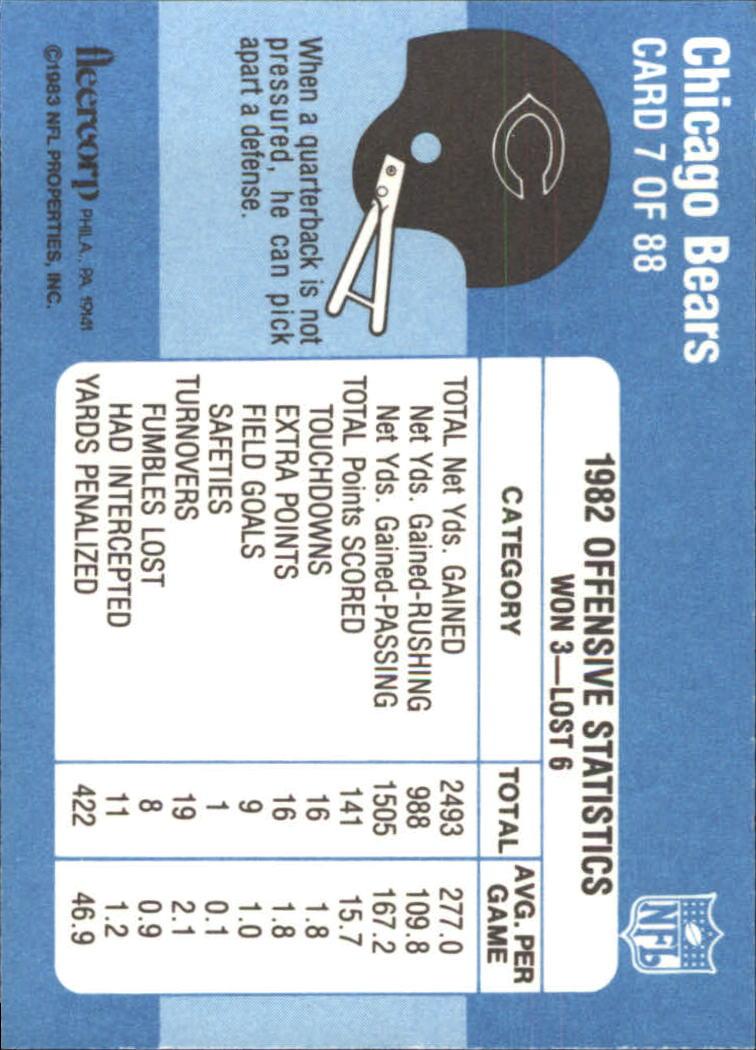 1983 Fleer Team Action #7 Chicago Bears back image