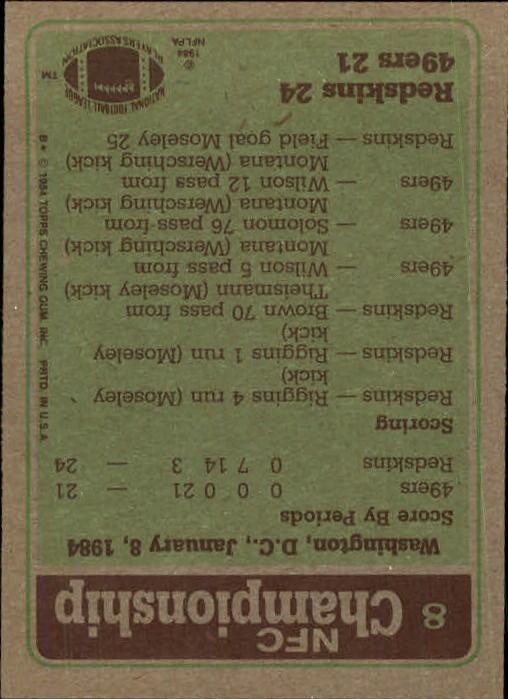 1984 Topps #8 NFC Championship/Redskins 24,/49ers 21/(John Riggins running) back image