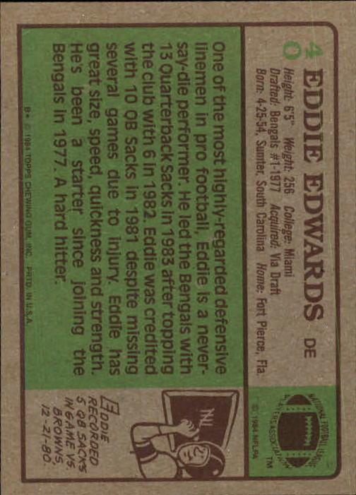1984 Topps #40 Eddie Edwards back image