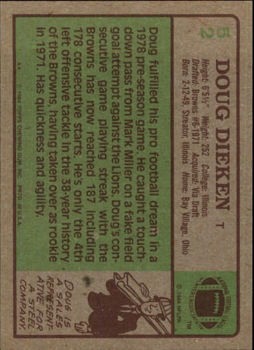 1984 Topps #52 Doug Dieken back image