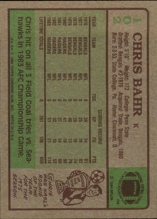 1984 Topps #102 Chris Bahr back image