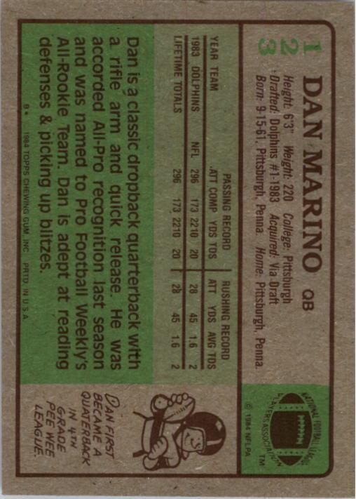 1984 Topps #123 Dan Marino PB RC UER/(Quaterback on back) back image