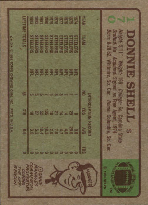 1984 Topps #170 Donnie Shell back image