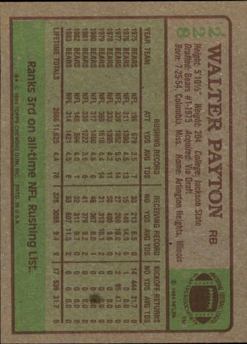 1984 Topps #228 Walter Payton PB back image