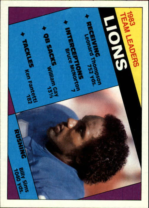 1984 Topps #250 Detroit Lions TL/Billy Sims