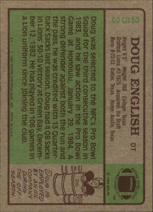 1984 Topps #253 Doug English back image
