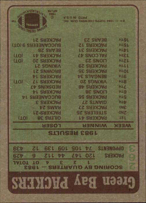 1984 Topps #263 Green Bay Packers TL/James Lofton back image