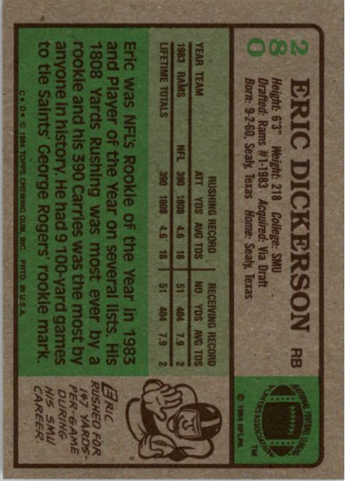1984 Topps #280 Eric Dickerson RC back image