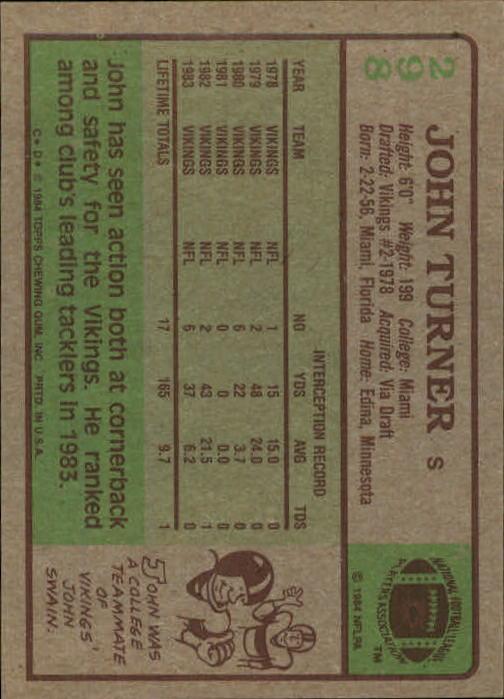 1984 Topps #298 John Turner back image