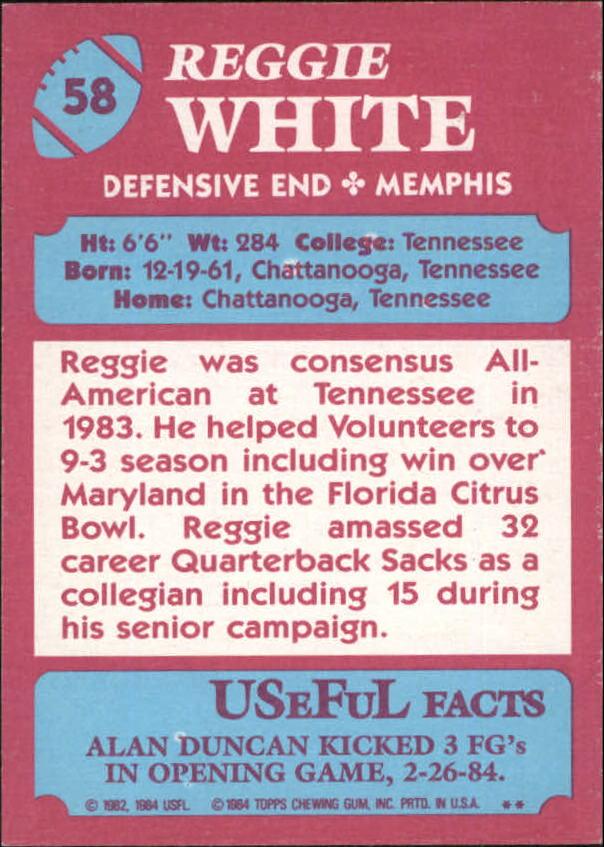 1984 Topps USFL #58 Reggie White XRC back image