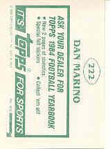 1984 Topps Stickers #222 Dan Marino back image