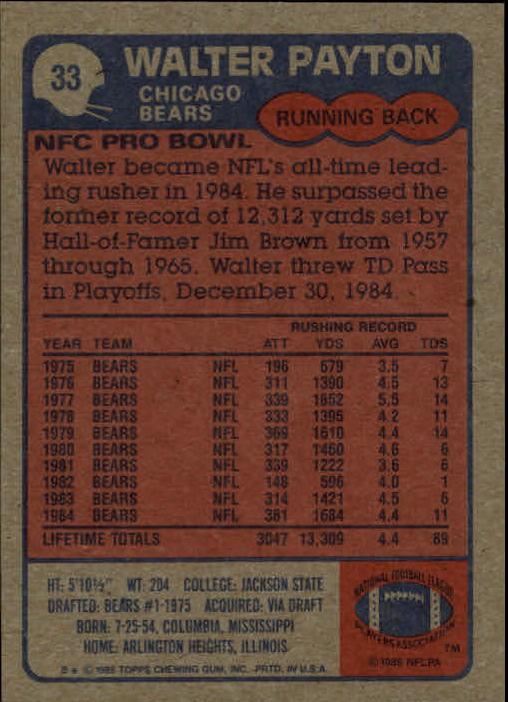 1985 Topps #33 Walter Payton AP back image