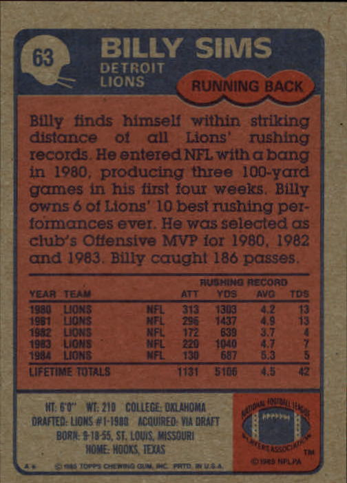 1985 Topps #63 Billy Sims back image