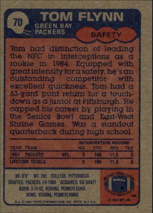 1985 Topps #70 Tom Flynn RC back image