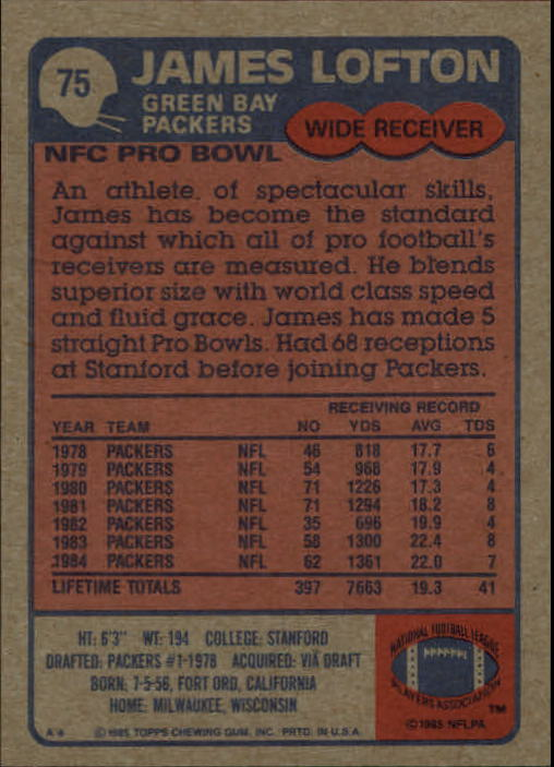 1985 Topps #75 James Lofton back image