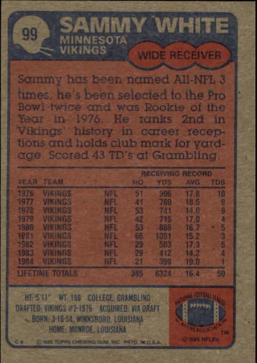 1985 Topps #99 Sammie White back image