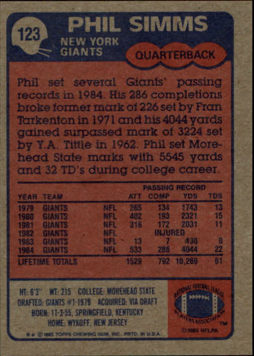1985 Topps #123 Phil Simms back image