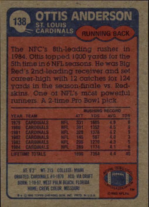 1985 Topps #138 Ottis Anderson back image