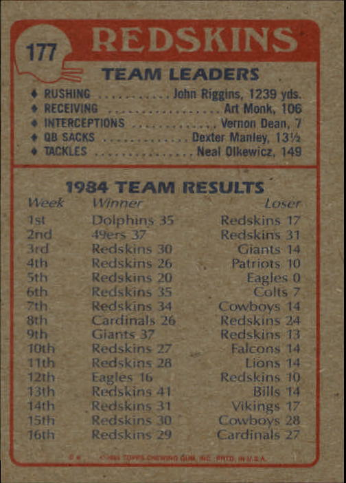 1985 Topps #177 Wash. Redskins TL/Diesel Named Desire/(John Riggins) back image