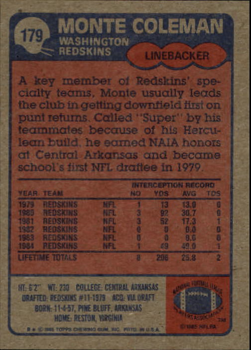 1985 Topps #179 Monte Coleman RC back image