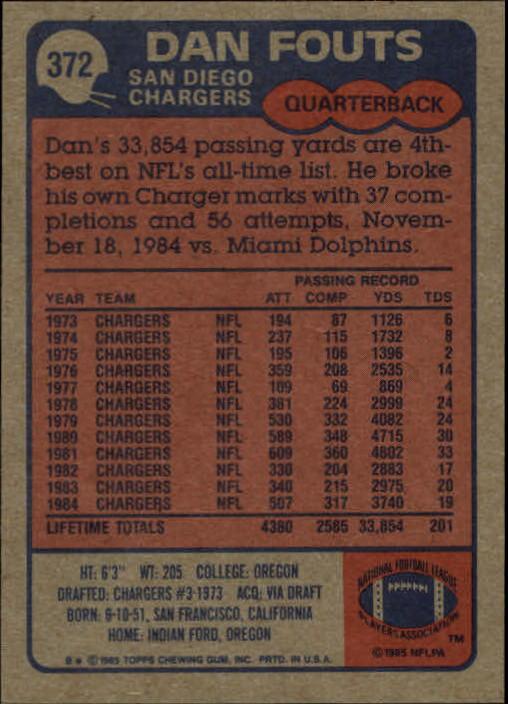 1985 Topps #372 Dan Fouts back image