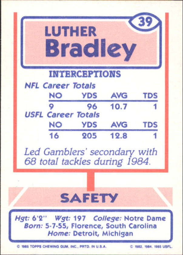 1985 Topps USFL #39 Luther Bradley back image