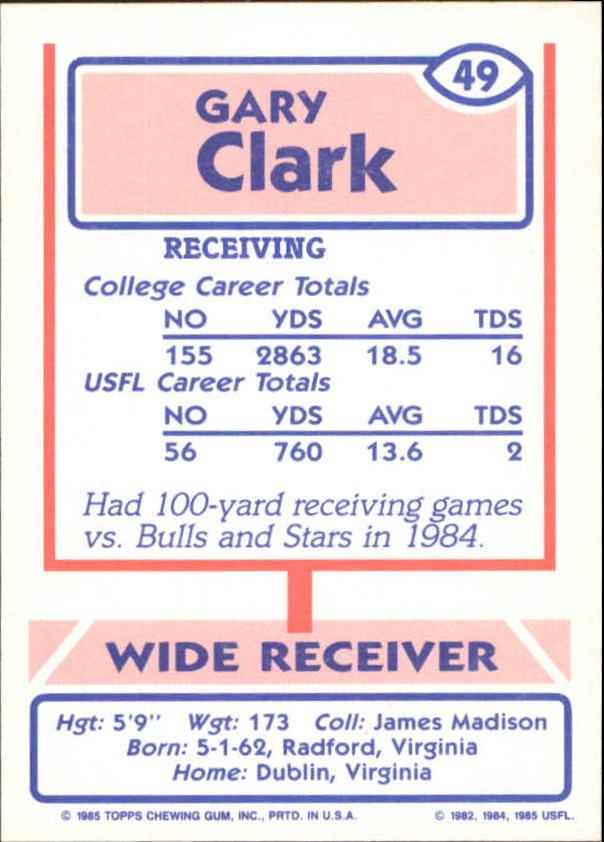 1985 Topps USFL #49 Gary Clark XRC back image