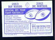 1985 Topps Stickers #282 Joe Montana/ 283 Dan Marino back image