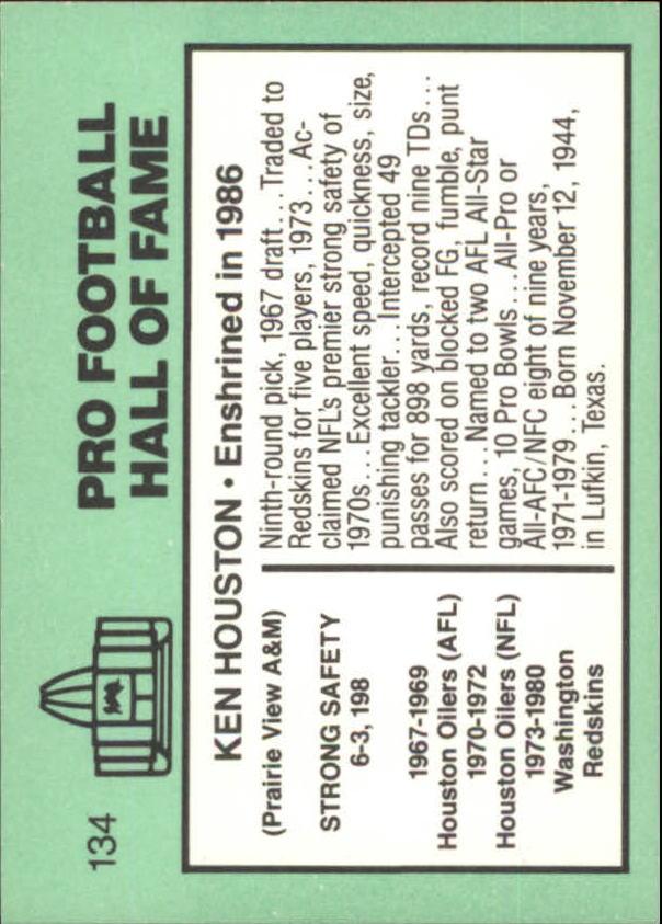 1985-88 Football Immortals #134B Ken Houston back image