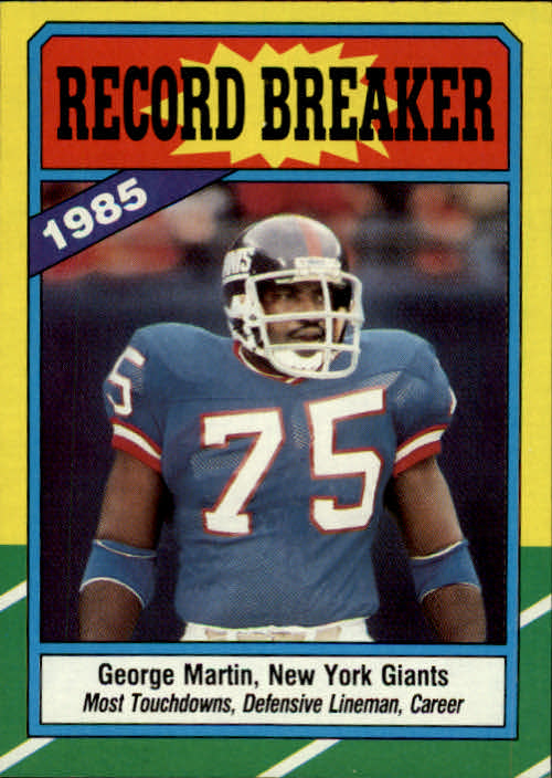 1986 Topps #5 George Martin RB/Most Touchdowns/Defensive Lineman: Career