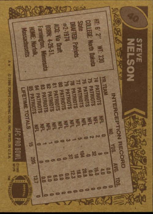1986 Topps #40 Steve Nelson back image