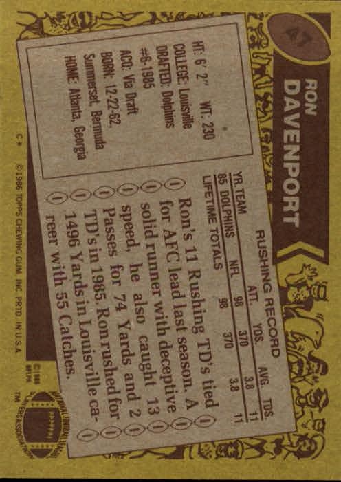 1986 Topps #47 Ron Davenport RC back image