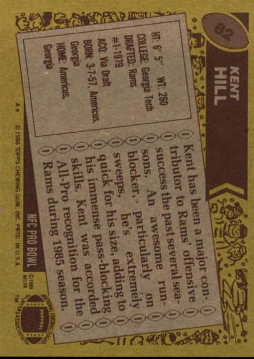 1986 Topps #82 Kent Hill AP back image