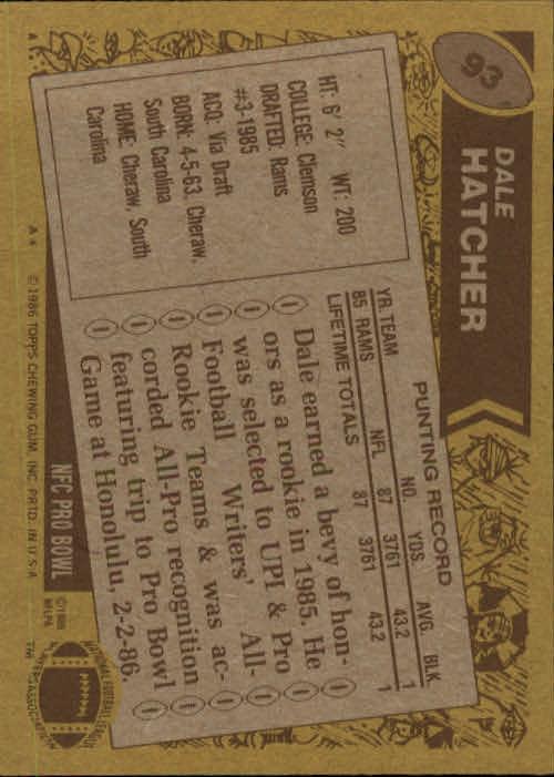 1986 Topps #93 Dale Hatcher RC back image