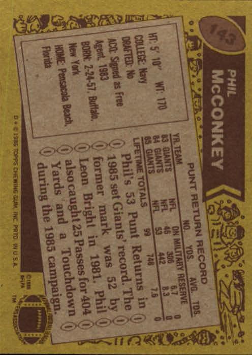 1986 Topps #143 Phil McConkey RC back image