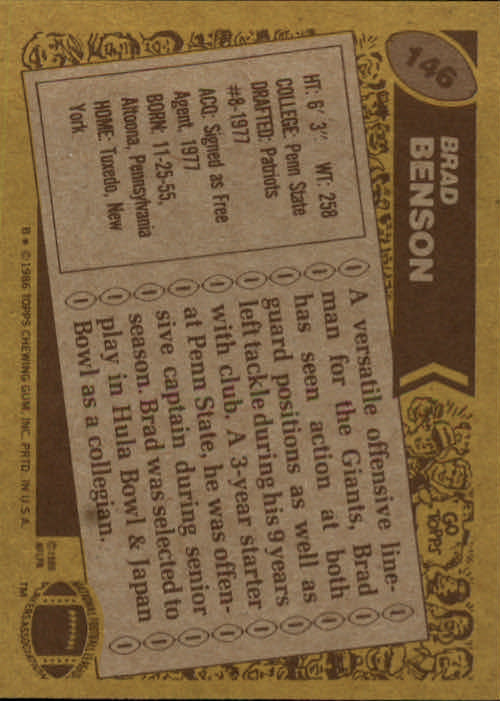 1986 Topps #146 Brad Benson RC back image