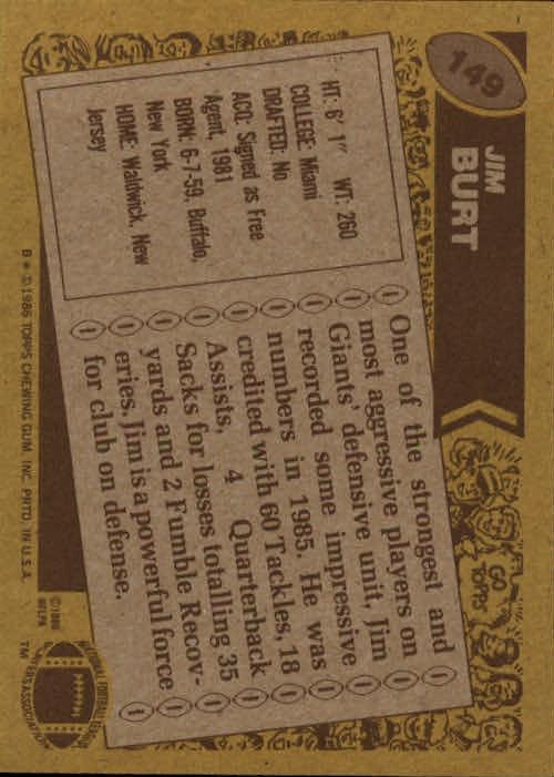 1986 Topps #149 Jim Burt back image