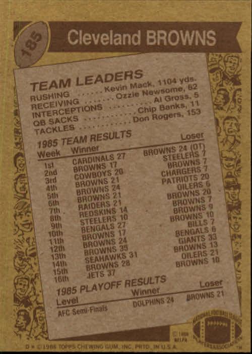 1986 Topps #185 Browns TL/(Bernie Kosar Fakes Handoff) back image