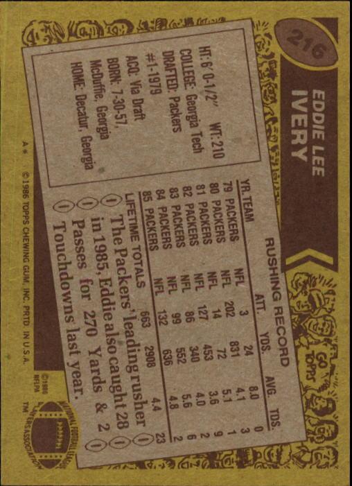 1986 Topps #216 Eddie Lee Ivery back image