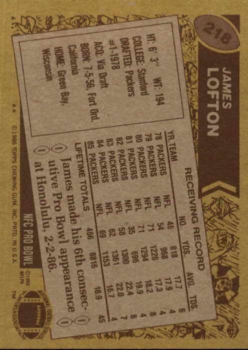 1986 Topps #218 James Lofton back image