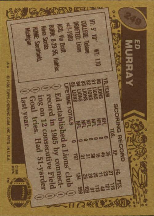 1986 Topps #249 Eddie Murray back image