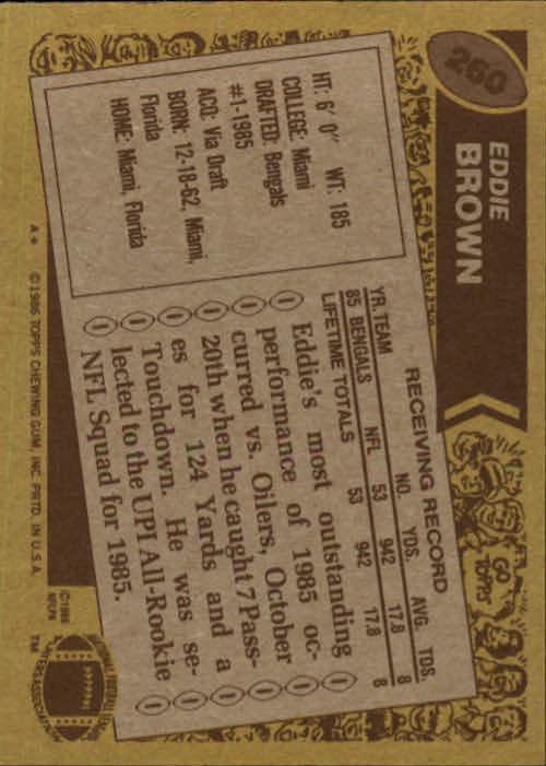 1986 Topps #260 Eddie Brown RC back image