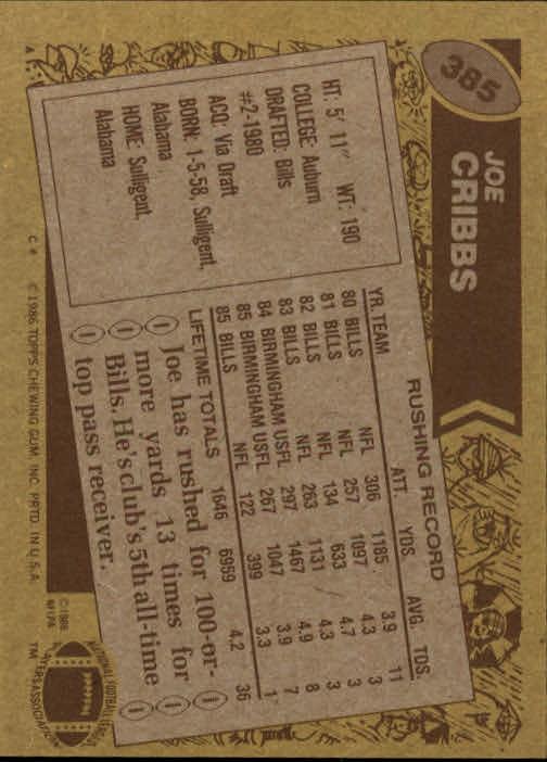 1986 Topps #385 Joe Cribbs back image