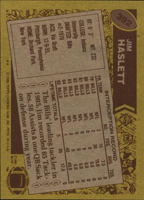 1986 Topps #392 Jim Haslett back image
