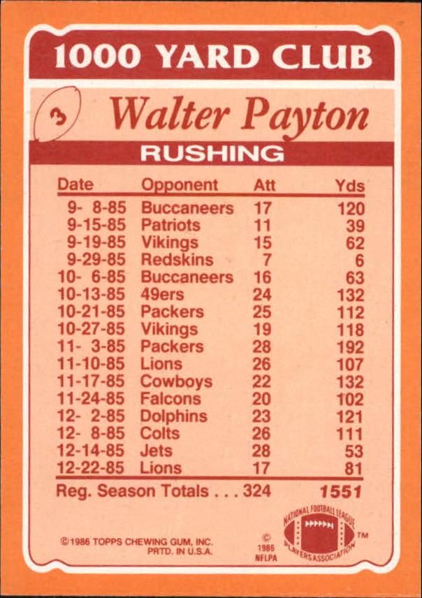 1986 Topps 1000 Yard Club #3 Walter Payton back image