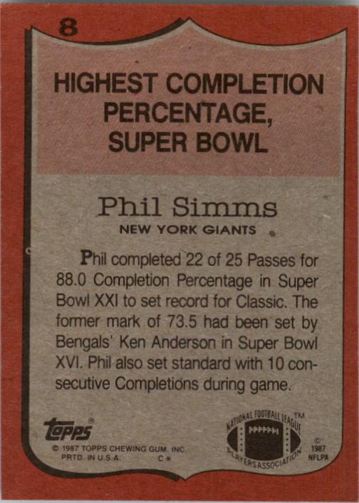 1987 Topps #8 Phil Simms RB/Highest Completion/Percentage: Super Bowl back image