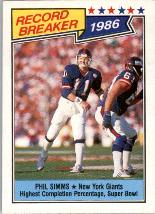 1987 Topps #8 Phil Simms RB/Highest Completion/Percentage: Super Bowl